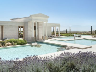 Elegant, Unspoilt, Timeless. Immerse yourself in a world of luxury private villa living within the AmanzoeVillas. On a hilltop above the Aegean, Amanzoe looks over the rugged Peloponnese coast and beyond to the Greek islands of Spetsesand Hydra. Villas are available from €3.2m.