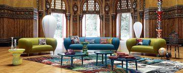 soffan Montgolfière ur Globe Trotter Collection av Marcel Wanders för Roche Bobois. Exklusiva soffor och möbler.